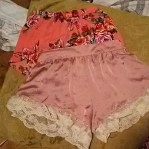 2 high waisted flowy shorts. Floral and silk